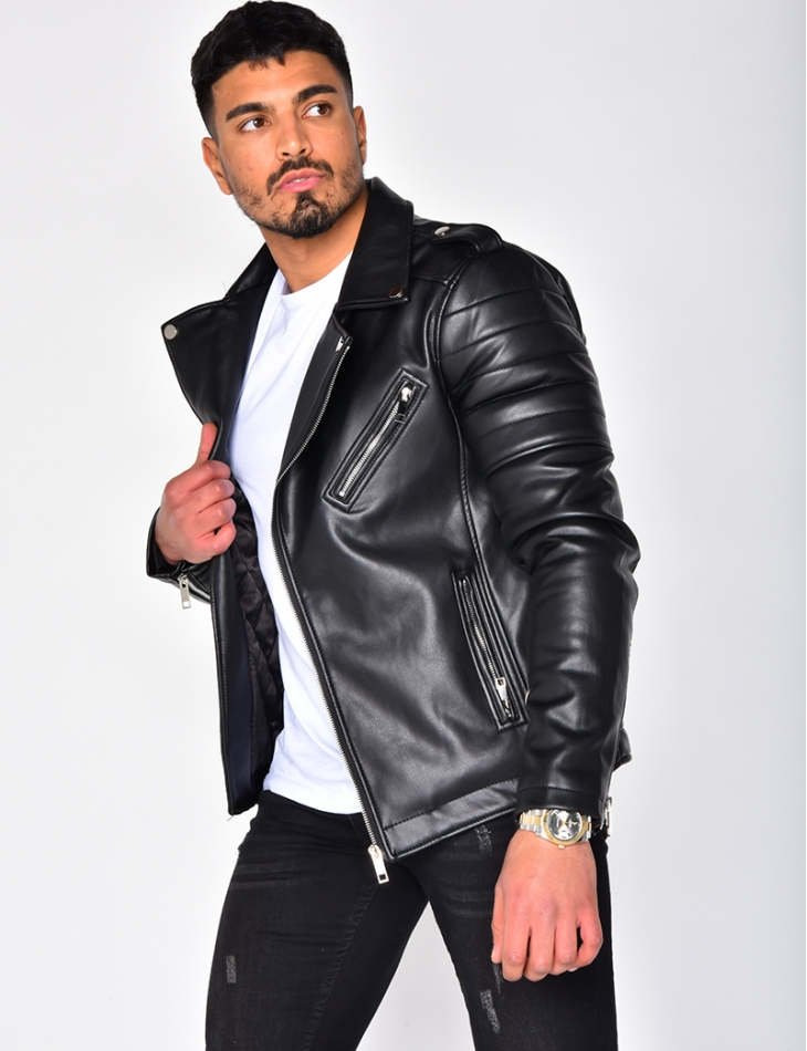 Leather Biker Jacket with Zip