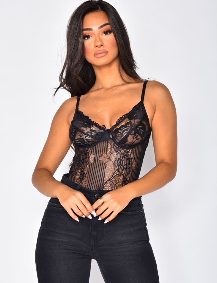 Lace Bodysuit with Thong