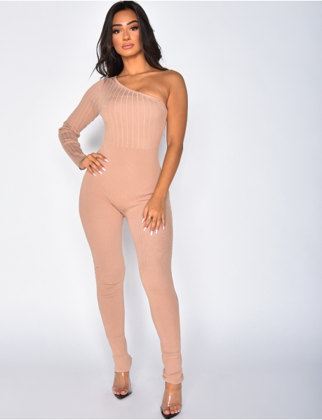 Asymmetric Ribbed Jumpsuit