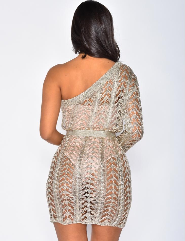 Glittery Knit Tie Dress