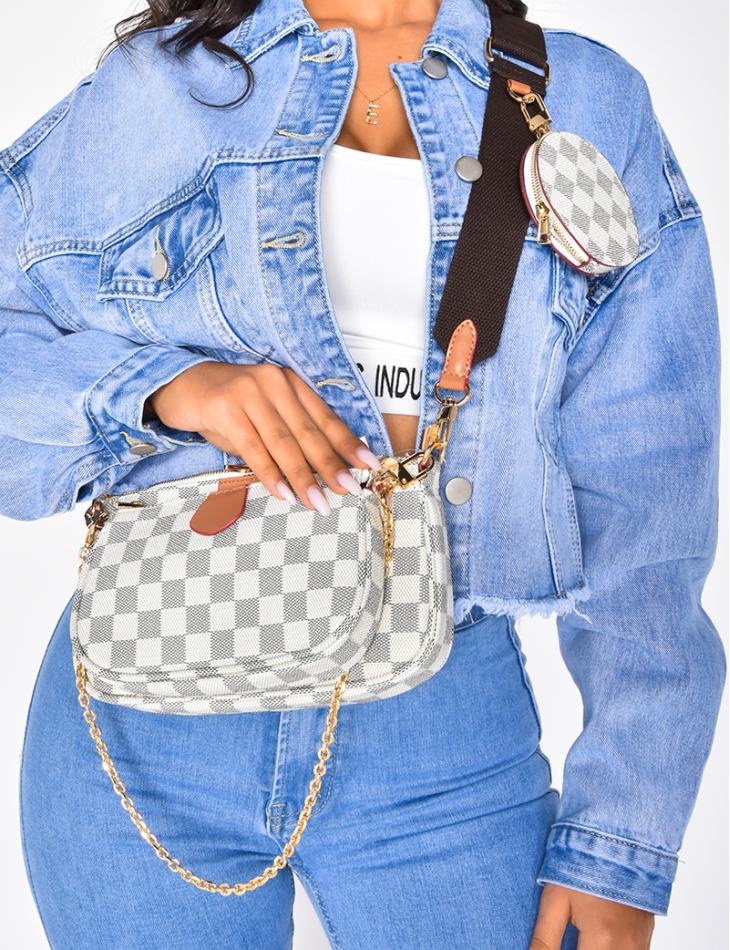 Multi Pouch Bag with Checked Pattern