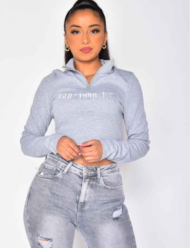 """Jeans Industry"" Long Sleeved Ribbed Crop Top"