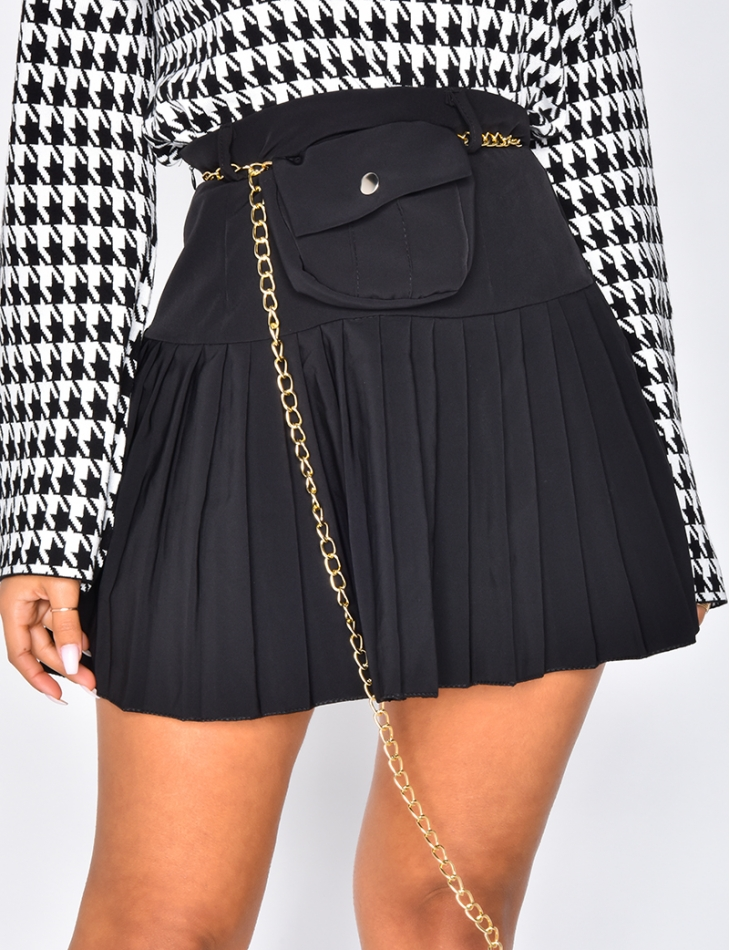 Pleated Skirt with Pouch