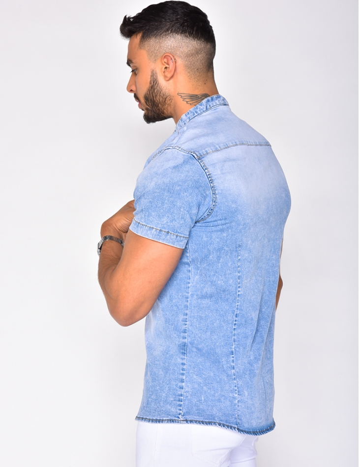 Faded Short Sleeved Denim Shirt