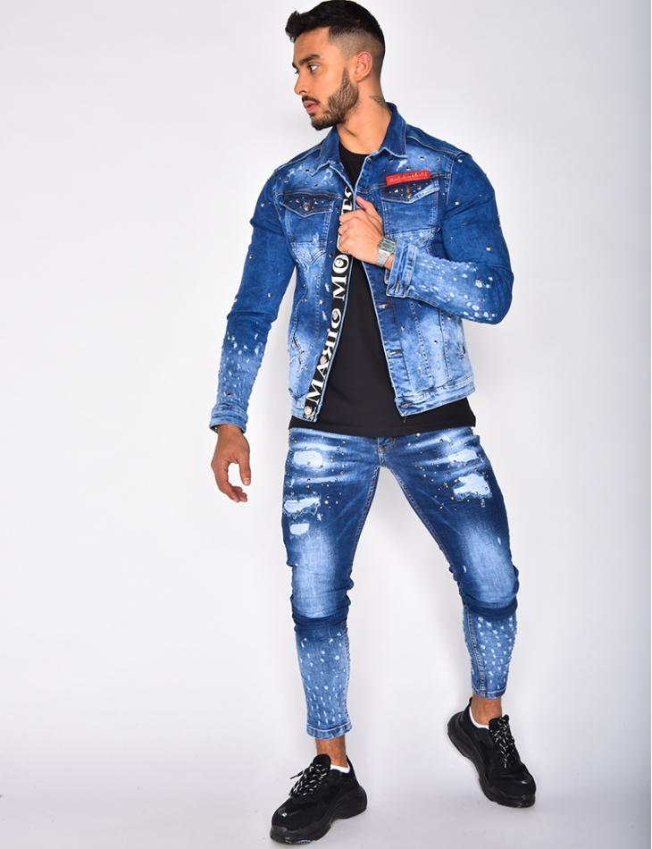 Jeans destroy cloutée