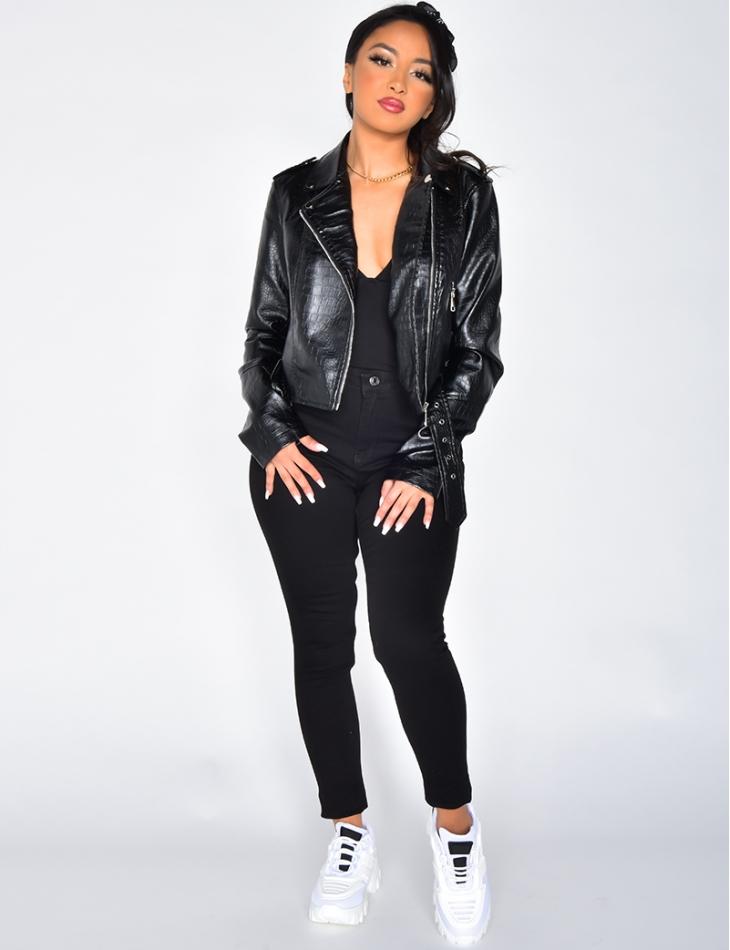 Crocodile Style Faux Leather Biker Jacket