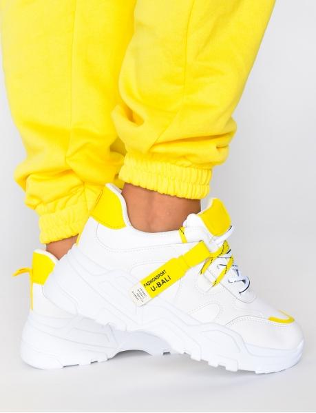 Sneakers mit dicker Sohle und zweifarbigen Schn?rsenkeln