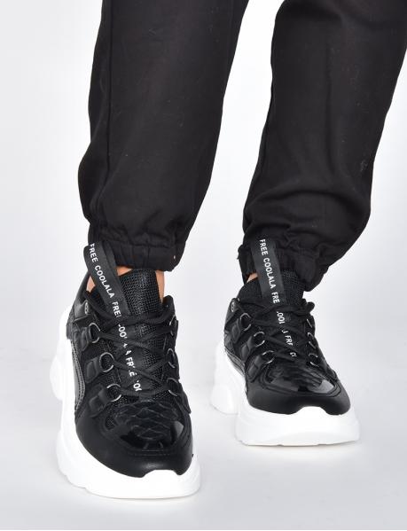 Chunky Sneakers aus zwei Materialien, Snake
