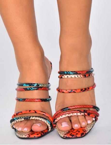 Sandales minimalistes à talons print snake