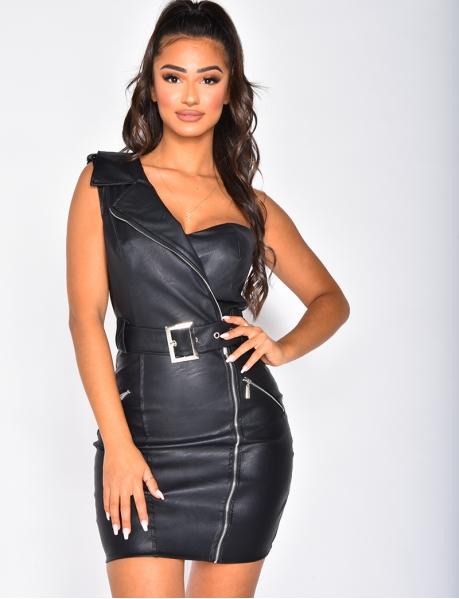 Asymmetric Leather Dress