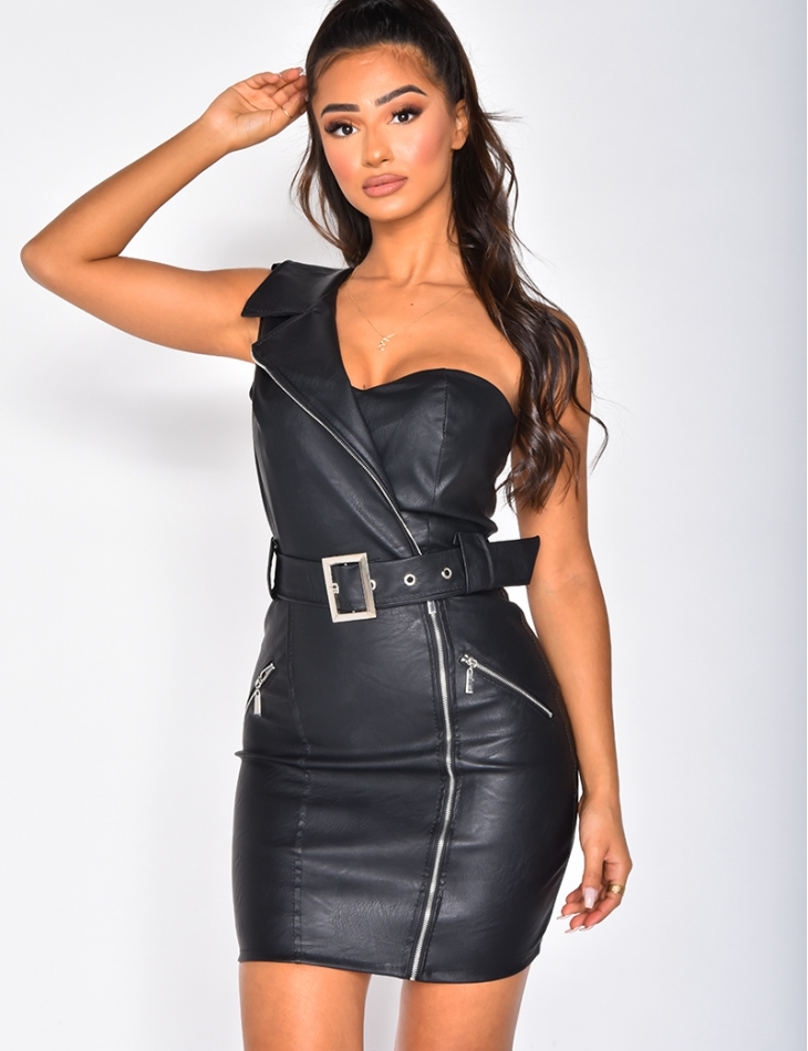 Asymmetric Leather Dress
