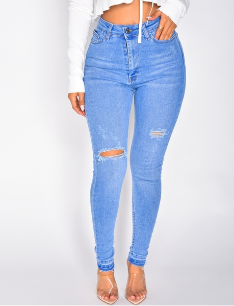 Ripped High Waisted Skinny Jeans
