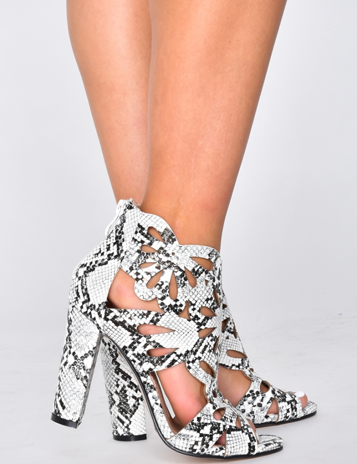 Heeled Sandals with Snakeskin Print