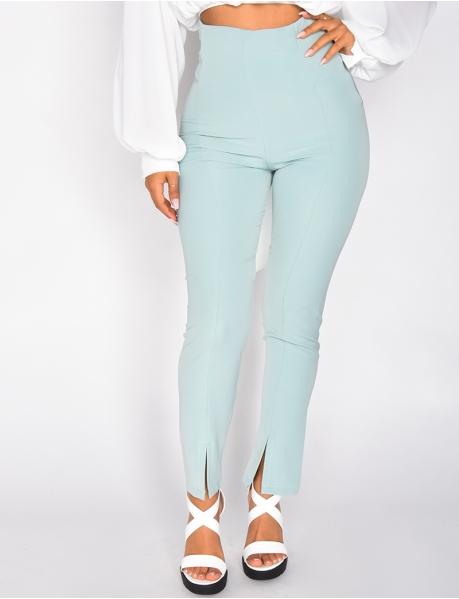 Pantalon taille haute à zip