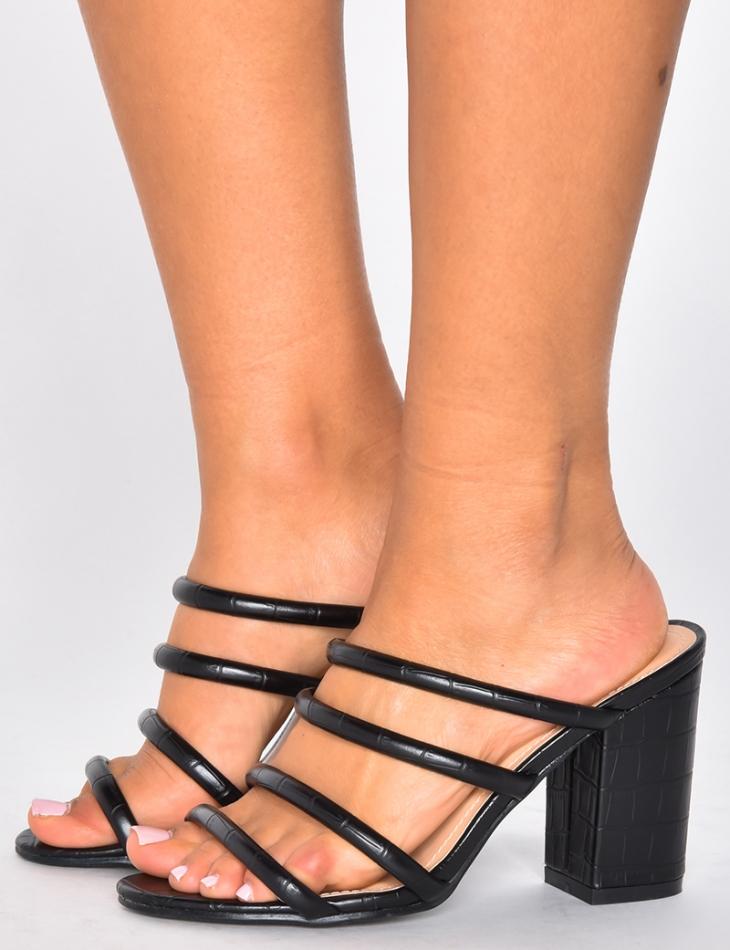Crocodile Print Heeled Sandals