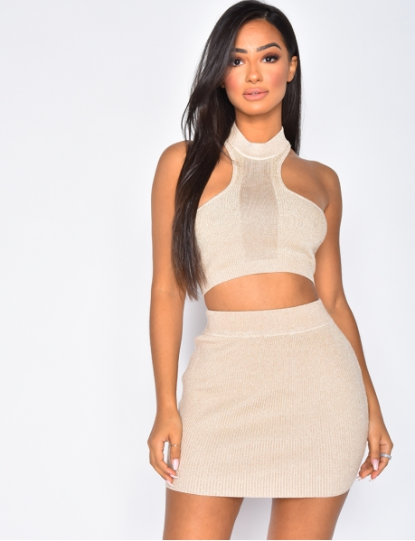 Glittery Ribbed Crop Top and Skirt Co-ord