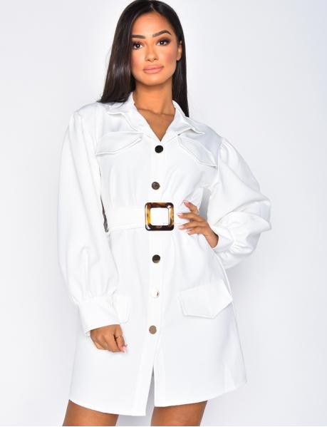 Robe chemise à ceinture