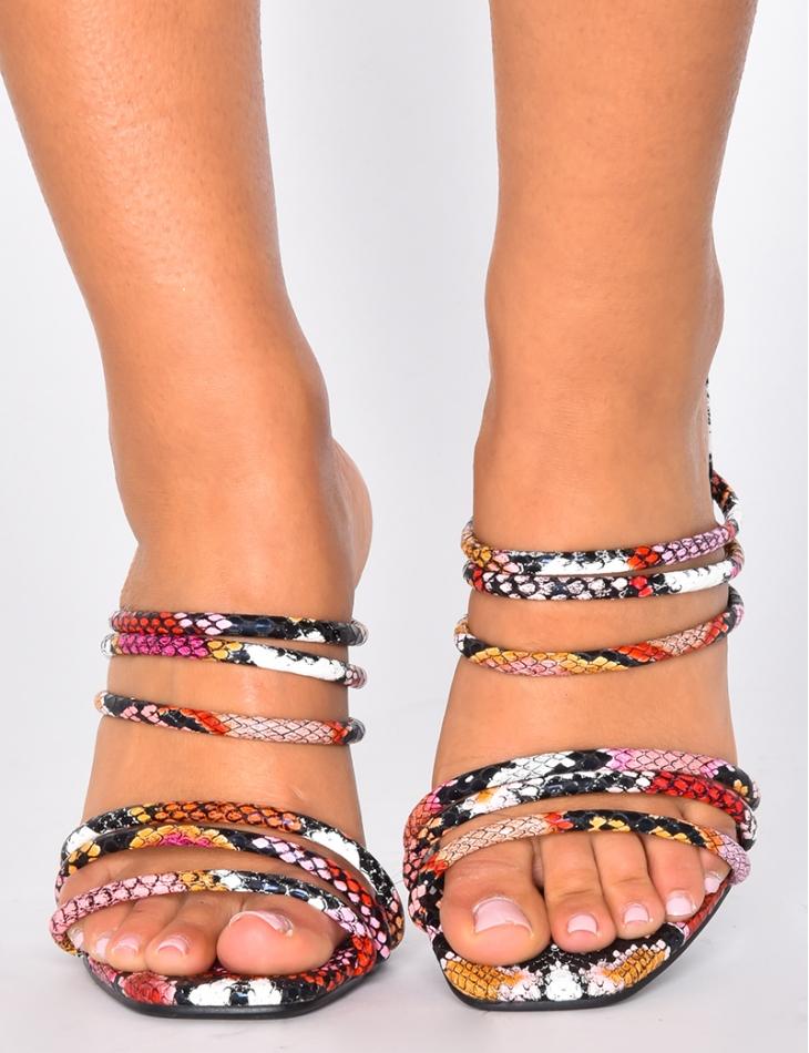 Sandales minimalistes à talons print snake Jeans Industry