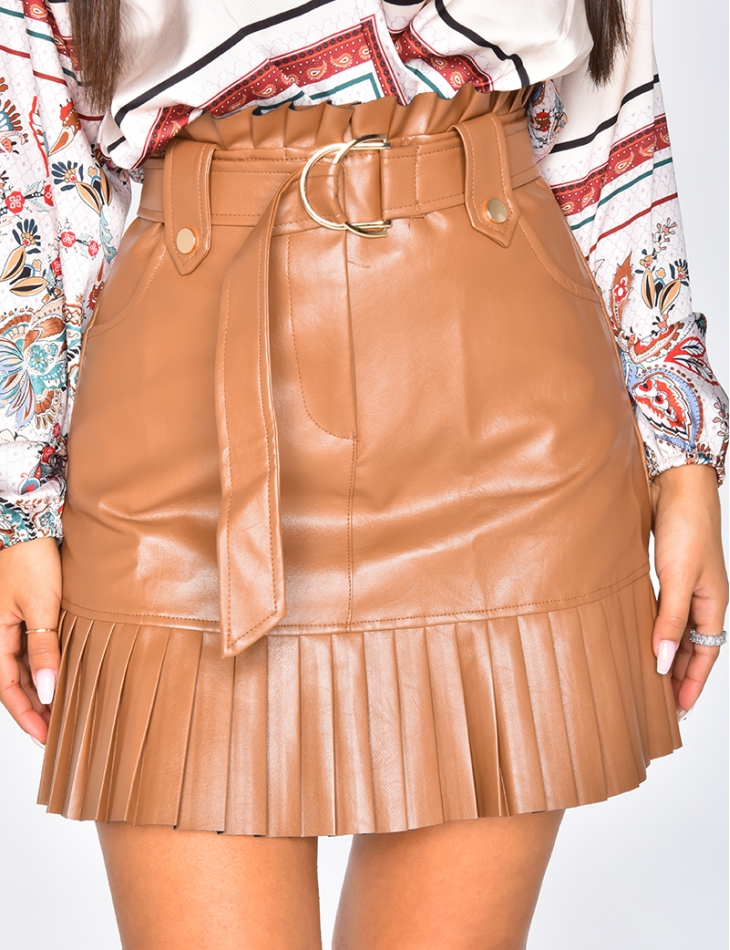 PU Leather Skirt with Belt