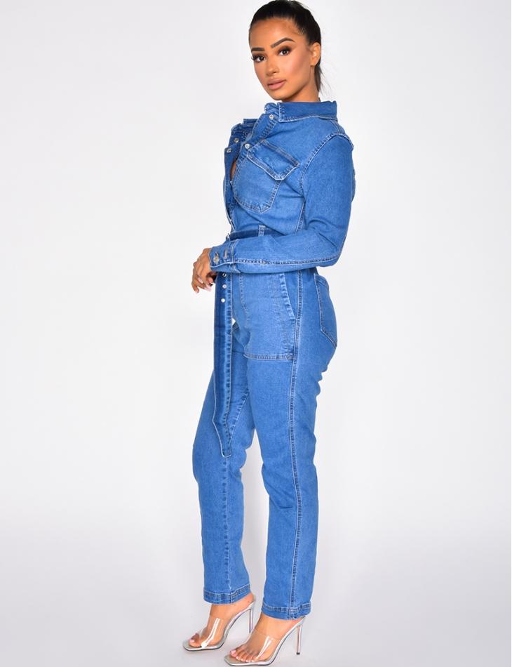 Combinaison en jeans à ceinture