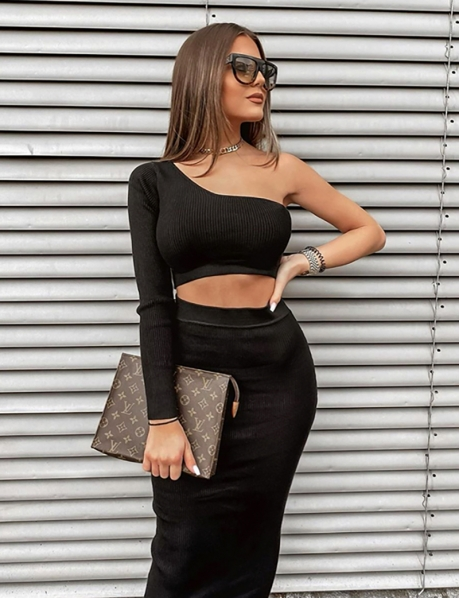 Ribbed Asymmetric Crop Top and Skirt Co-ord