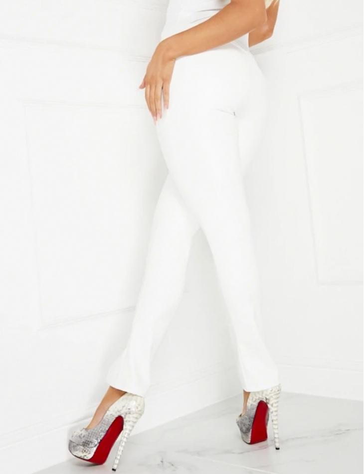 Pantalon en simili à fentes