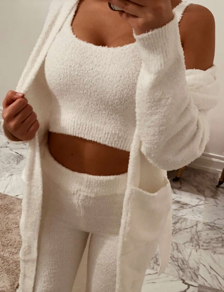 Super Soft Premium Quality Crop Top, Cardigan and Trousers Co-ord