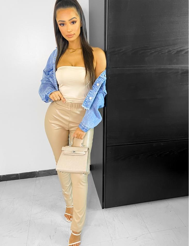 Pantalon taille haute en cuir PU