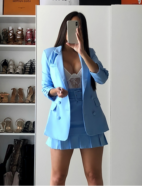 Sky Blue Blazer with Shoulder Pads