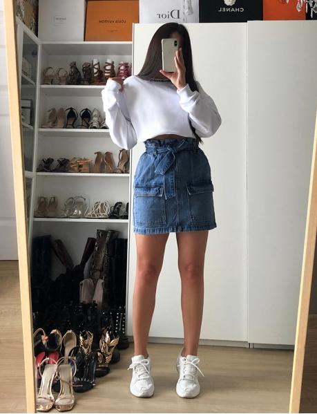 Jupe en jeans à nouer à poches style cargo