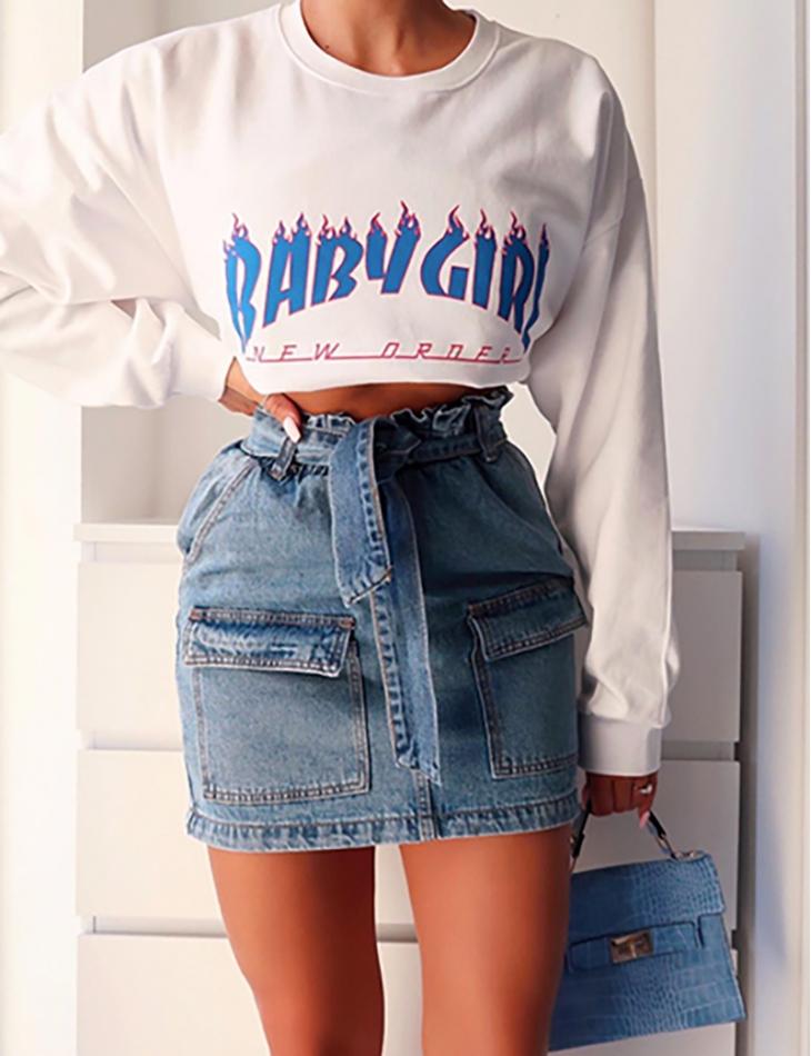 Jupe en jeans à nouer à poches