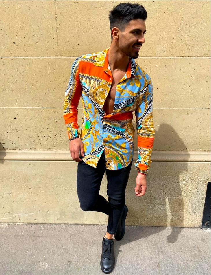 Chemise manches longues à motifs