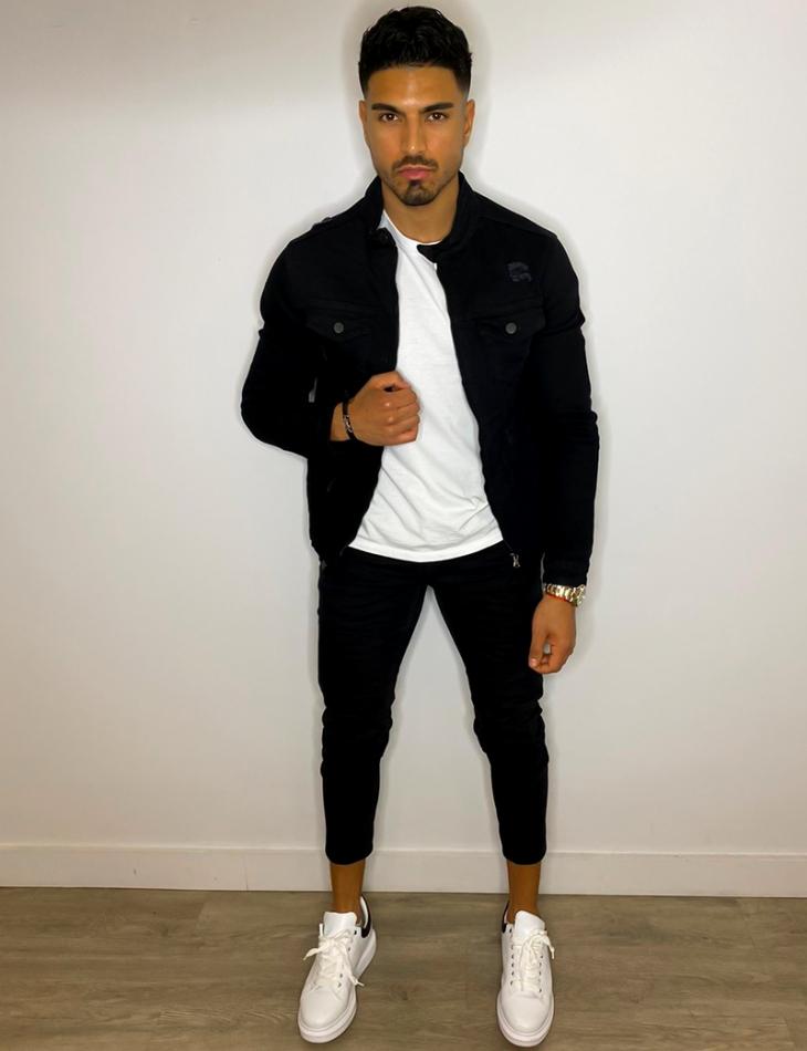 Veste en jeans à zip destroy