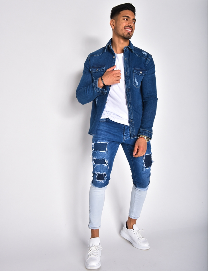 Jeans dégradé à zip