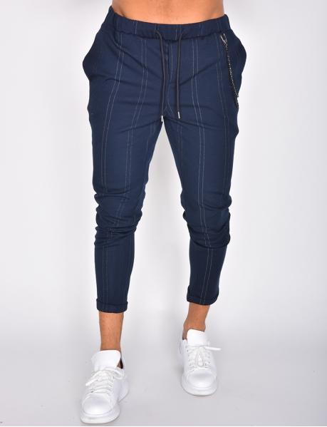 Pantalon à rayures et chaines