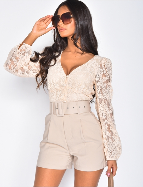 Wrapover Lace Top
