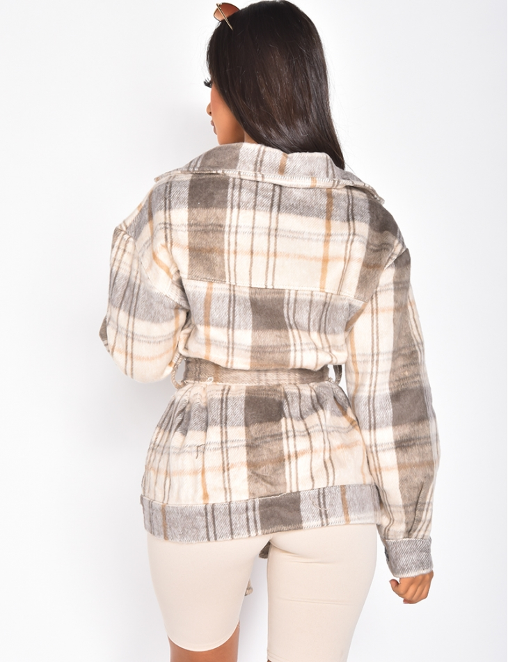 Veste oversize à carreaux et ceinture