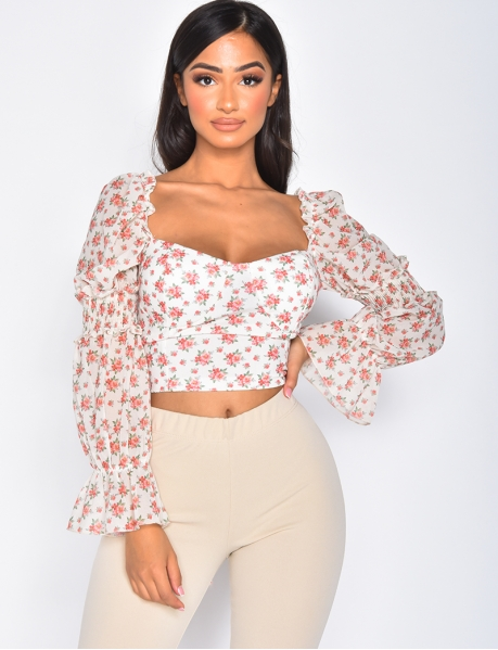 Crop-top fleuri