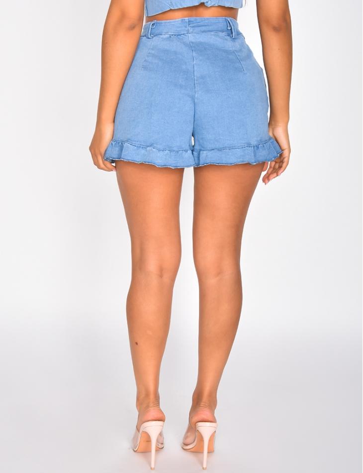 Short en jeans à boutons et bords festonnés