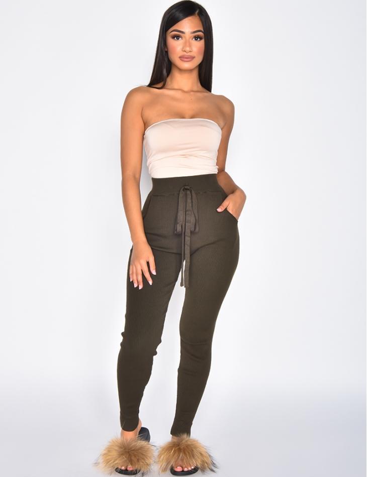 Pantalon loungewear taille haute côtelée