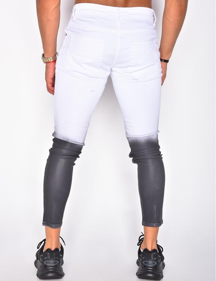 Jeans blanc-noir dégardé