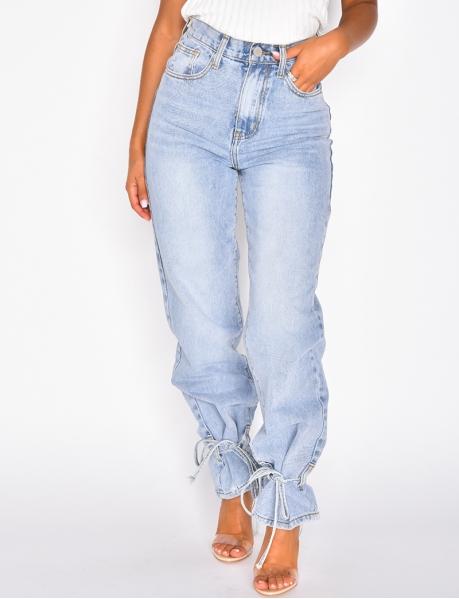 Jeans straight à nouer