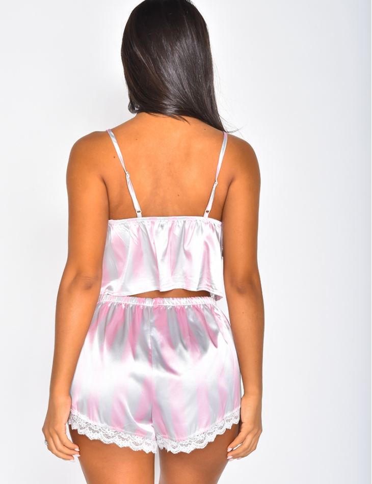 Satin Crop Top and Shorts Co-ord