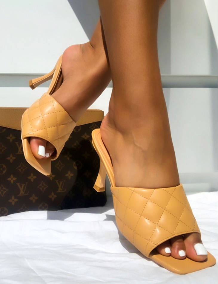 Quilted Mules with Square Toe