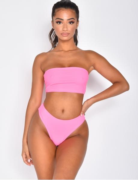 Bikini taille haute uni