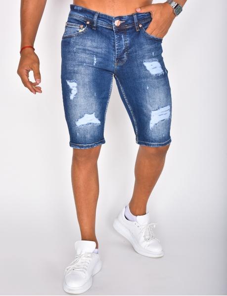 Bermuda en jeans destroy