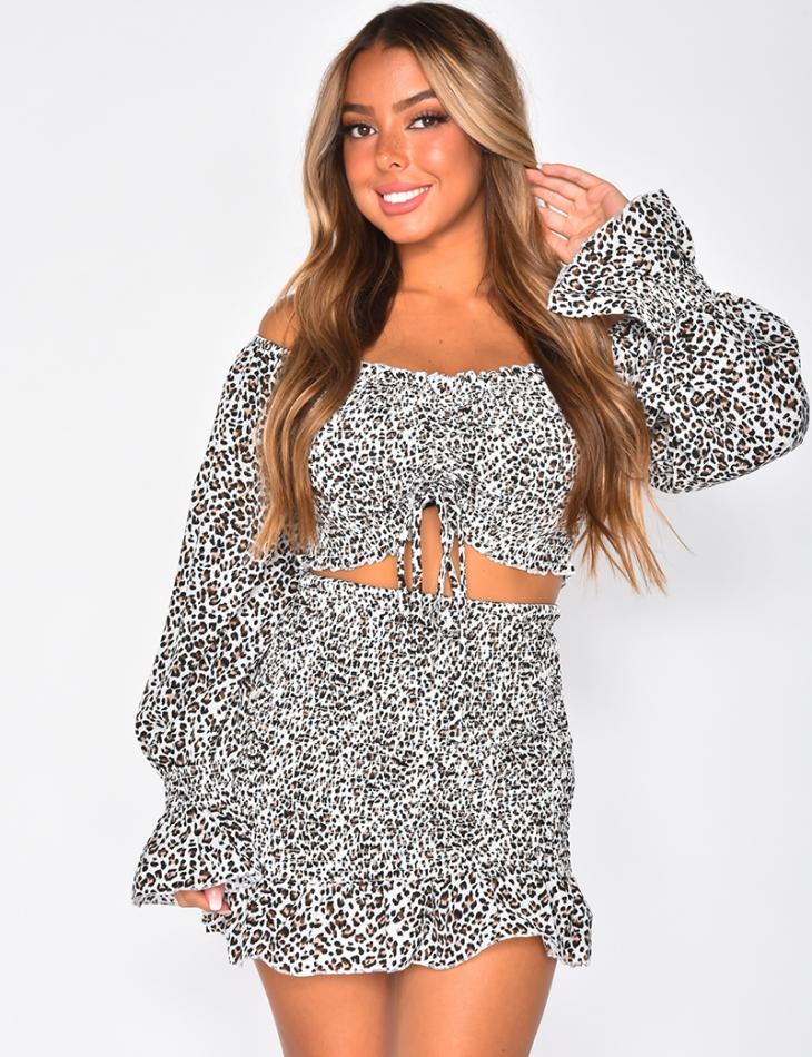 Ensemble jupe et crop-top à motifs léopard