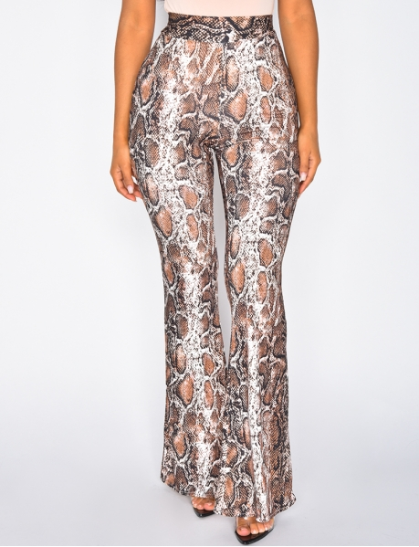 Flared Trousers with Snakeskin Pattern