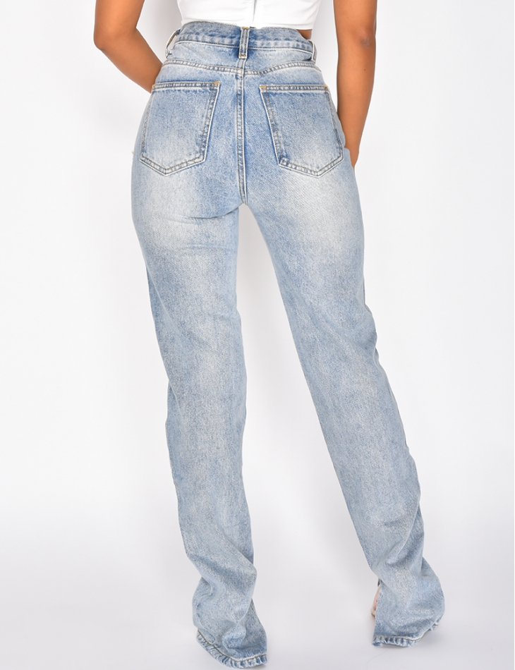 Straight Leg Jeans with Ankle Slit