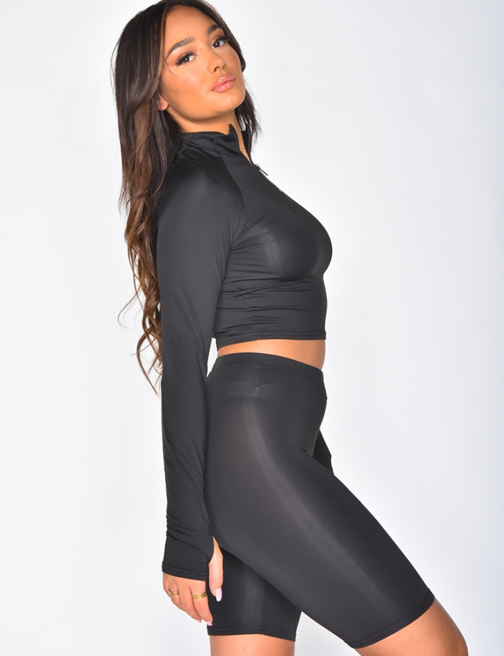 Figure-hugging Crop Top and Shorts Co-ord